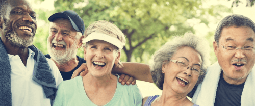 older adults laughing and smiling